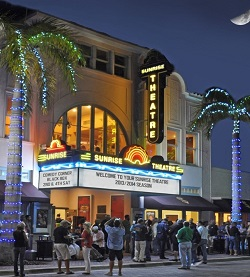 Front entrance of the Sunrise Theatre at night