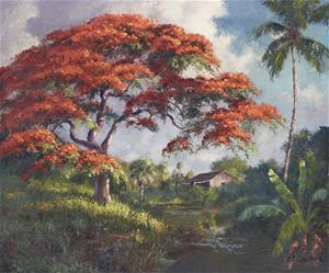 A painting of Moore's Creek done by A.E. Backus